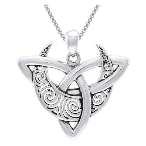 """Celtic Triquetra Moon Goddess Trinity Knot Sterling Silver Pendant Necklace 18"""""""