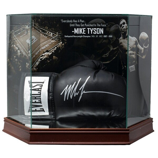 6fdc97048f7 Shop Mike Tyson Signed Black Everlast Boxing Glove In Photo Background Glove  Case JSA - Free Shipping Today - Overstock - 25744515