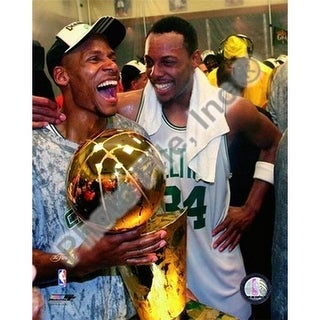 Ray Allen & Paul Pierce Game Six of the 2008 NBA Finals With Troph