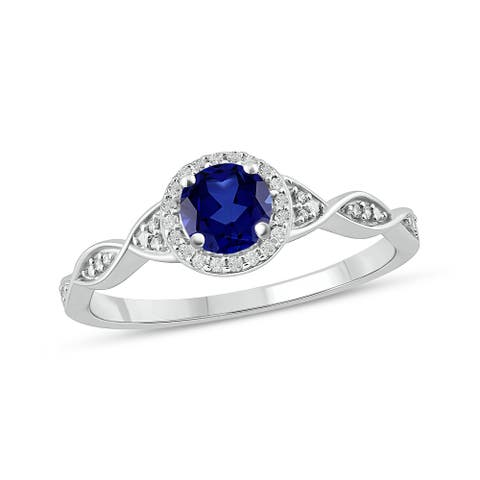 Cali Trove 925 Sterling Silver in 1/10 ct TDW & Blue Sapphire fashion ring.