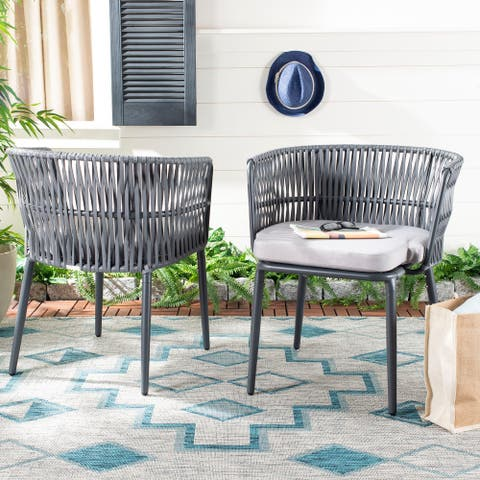"Safavieh Outdoor Living Kiyan Rope Chair - Grey (Set of 2) - 25.2""x24.4""x29"""