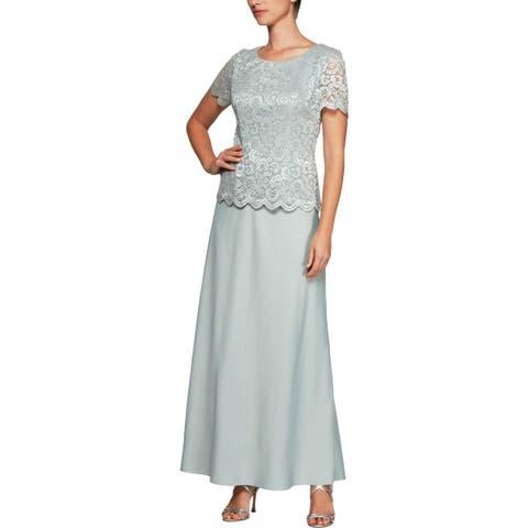 Alex Evenings Womens Evening Dress Lace Glitter