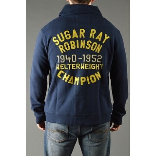 Roots of Fight Sugar Ray Robinson Throwback Button-Front Cardigan Jacket - Navy (Option: Xl)