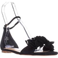 Steve Madden Dorthy Flat Ankle Strap Sandals, Black Suede