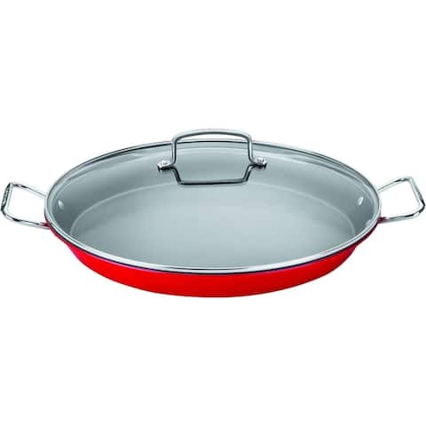 """Cuisinart ASP-38CR Non-Stick Paella Pan with Glass Lid, 15"""", Red"""