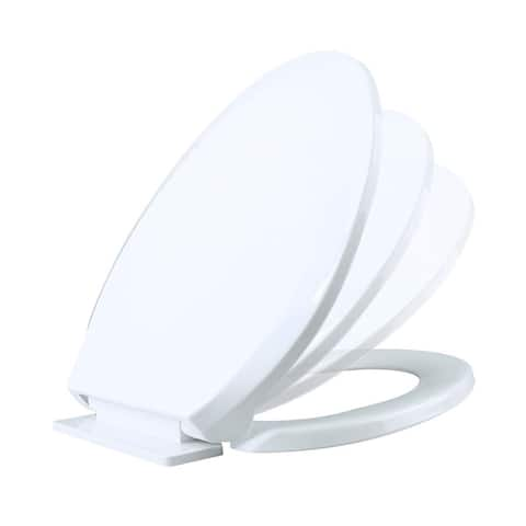 Slow Close No Slam Plastic Elongated Toilet Seat White - N/A
