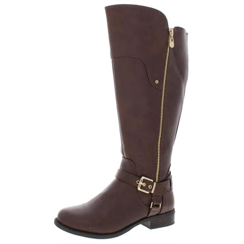 Guess Womens Harson 5 Riding Boots Wide Calf Faux Leather