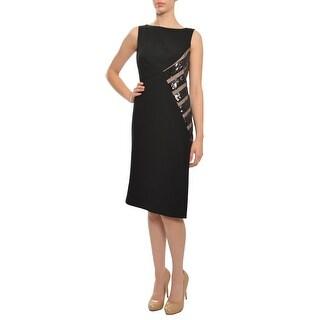 Angel Sanchez Fitted Asymmetric Sequin Crepe Evening Dress
