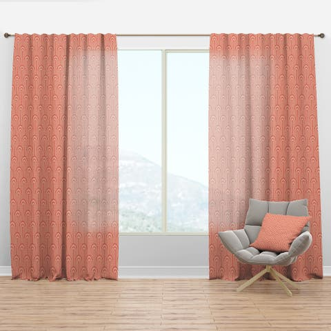 Designart 'Retro Art Deco Waves II' Mid-Century Modern Curtain Panel