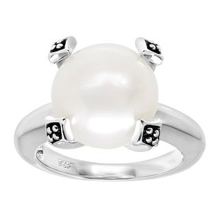 Honora 12-12.5 mm Freshwater Button Pearl Ring in Sterling Silver
