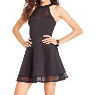 Material Girl Womens Juniors Skater Dress Scuba Mesh Inset - L