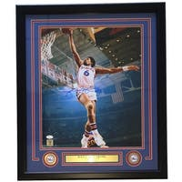 Julius Dr. J Erving Signed Framed 16x20 Philadelphia 76ers Dunk Photo JSA
