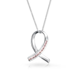 Bling Jewelry CZ Breast Cancer Awareness Ribbon Pendant Sterling Silver Necklace 16 Inches - Pink