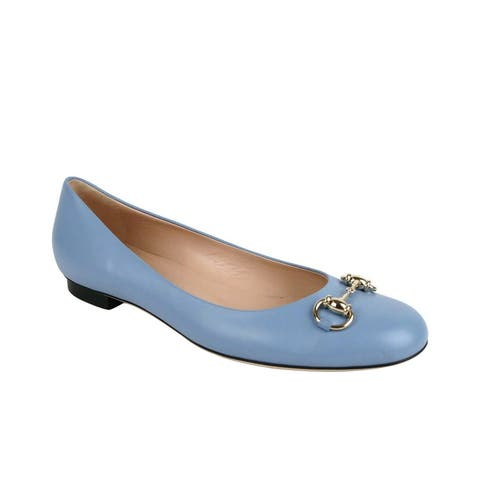 Gucci Women's Light Blue Leather Ballet Flat With Horsebit 466700 4503 (40 G / 10 US) - 40 G / 10 US
