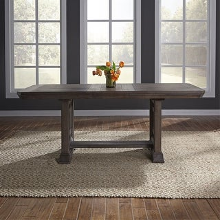 Link to Copper Grove Letampon Wire-brushed Aged Oak Trestle Table - Brown Similar Items in Dining Room & Bar Furniture