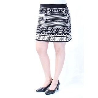 Womens Black White Geometric Mini A-Line Skirt Size L