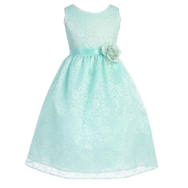 e6677e968 Shop Girls Mint Floral Lace Junior Bridesmaid Dress 8-12 - Free ...