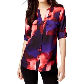 Calvin Klein Womens Button-Down Top Printed Adjustable Sleeves