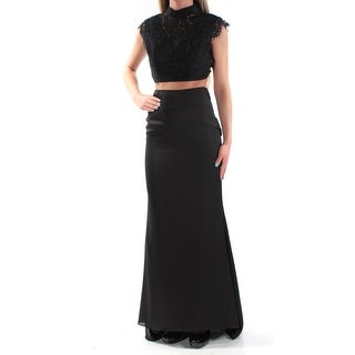 Womens Black Cap Sleeve Full Length Formal Dress Size: 2