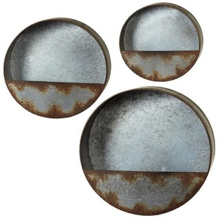 "Set of 3 Metallic Silver Distressed Galvanized Circle Wall Pocket 15"""