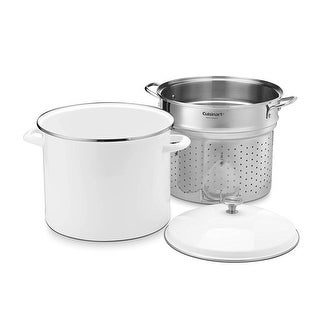 Cuisinart EOS206-33WSCP 3 Piece Stockpot/Steaming Set with Self-Draining Clip, 20 quart, White