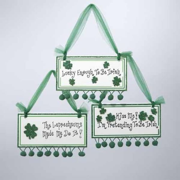 "Luck of the Irish ""Lucky Enough To Be Irish"" Plaque Christmas Ornament"