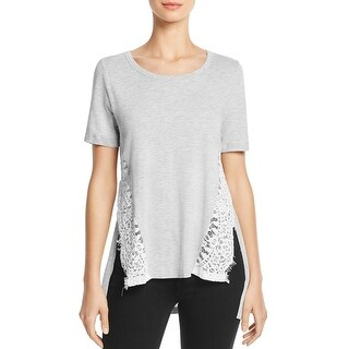 French Connection Womens Casual Top Lace Trim Split Side