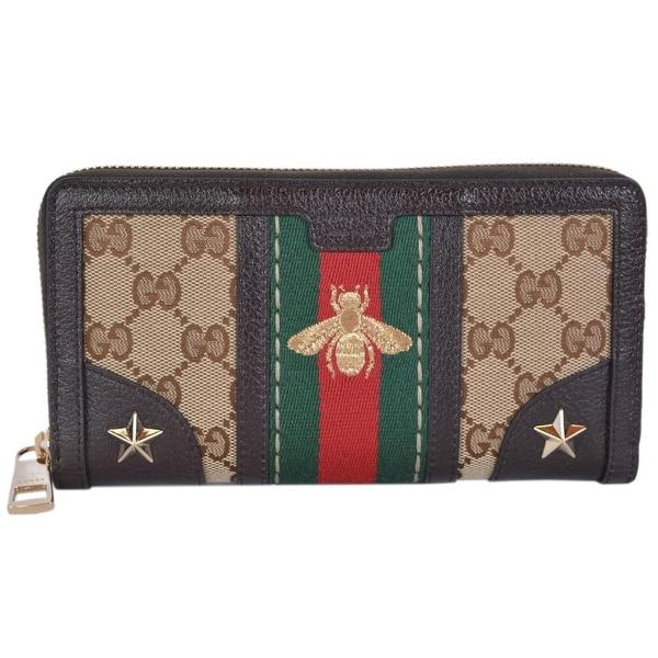 ac2ddda3e0a Gucci Women  x27 s Canvas GG Guccissima Vintage Web Stripe BEE Zip Around  Wallet
