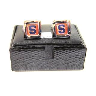NCAA Syracuse Orange men Square Cufflinks with Square Shape Logo Design Gift Box Set