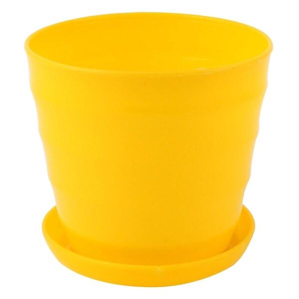 Shop yellow plastic stripe pattern home garden office mini plant yellow plastic stripe pattern home garden office mini plant flower pot w tray mightylinksfo