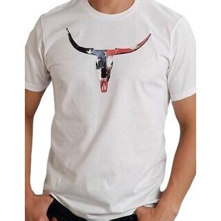 Roper Western Shirt Mens S/S Steer Skull White 03-076-0050-0503 WH