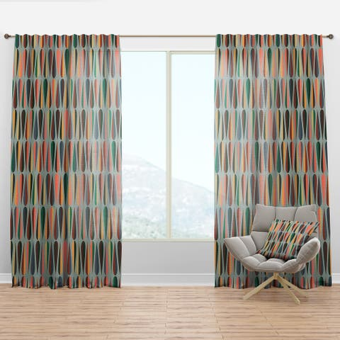 Designart 'Retro Abstract Drops IX' Mid-Century Modern Curtain Panel