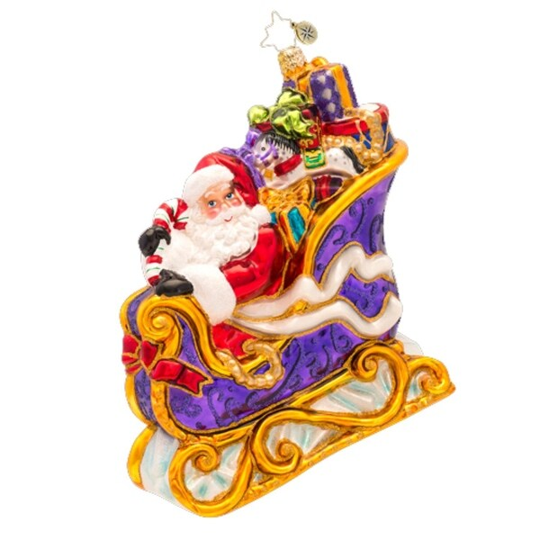 Christopher Radko Glass Many Miles to Go Santa Sleigh Christmas Ornament #1017173