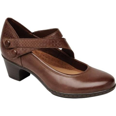 Rockport Women's Cobb Hill Kailyn Asym Mary Jane Tan Leather