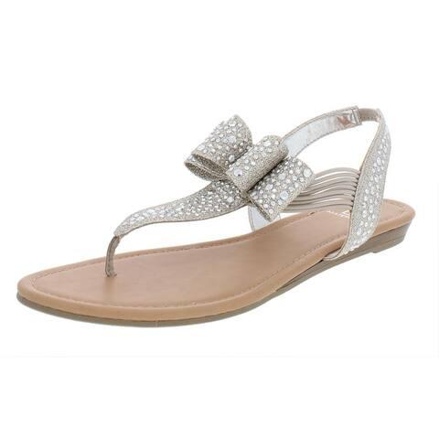 Material Girl Womens Shayleen Thong Sandals Rhinestone Metallic