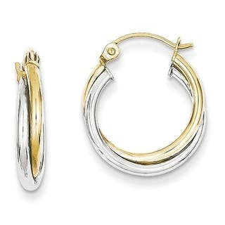 10k Yellow White Gold 4mm Twist Hoop Earrings
