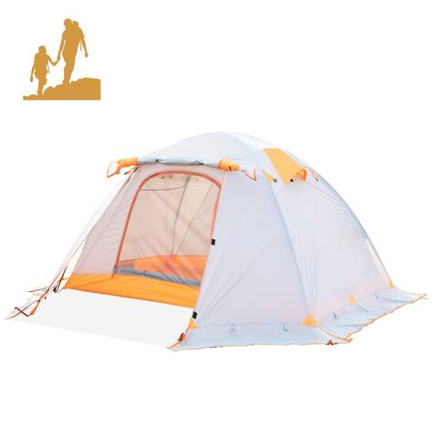 A 2 Person 4 Season Camping Tent with Snow Skirt Double Layer Waterproof Portable Backpacking Tent for Hiking, Climbing