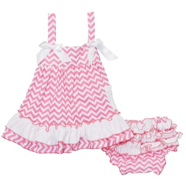 Wenchoice Baby Girls Pink White Bow Ruffles Swing Top Set