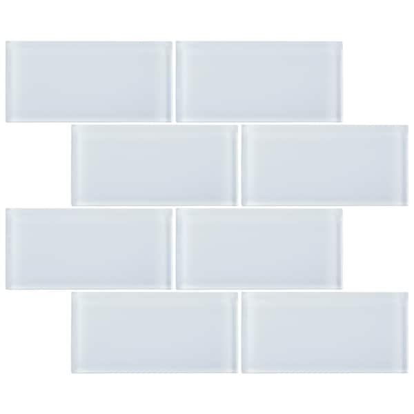 """TileGen. 3"""" x 6"""" Glass Subway Tile in White Wall Tile (80 tiles/10sqft.). Opens flyout."""