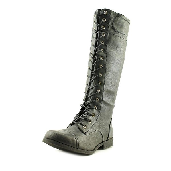 XOXO Womens Bonnie Round Toe Knee High Combat Boots