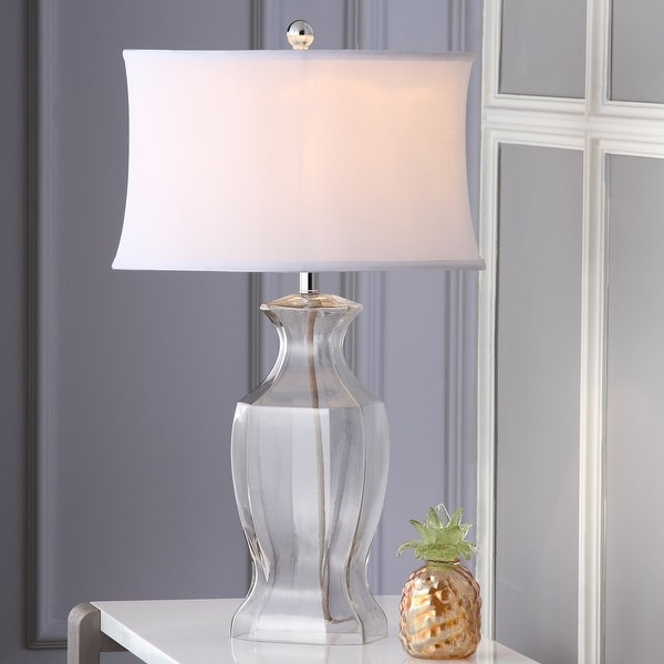 """Safavieh Lighting 27.5-inch Clear Glass Table Lamp (Set of 2) - 17""""x12""""x28"""". Opens flyout."""