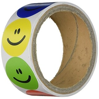Rhode Island Novelty 1 Roll of 100 Smiley Face Stickers, Primary Colors NIP
