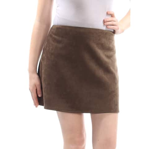 FRENCH CONNECTION Womens Brown Faux Suede Mini Skirt Size: 10