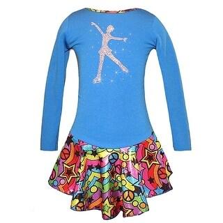 Ice Fire Skate Wear Blue Peace Star Rainbow Skate Girl Dress Girl 5-12