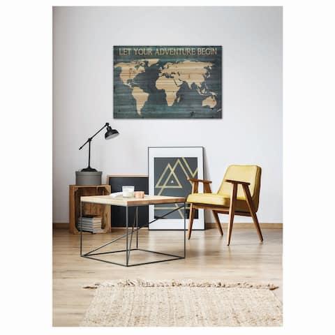Gallery 57 Adventure Begin Map 24x36 Print on Planked Wood Wall Art