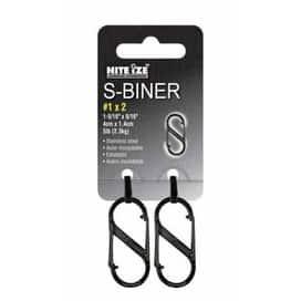 """Nite Ize SB1-2PK-01 S-Biner, 1-9/16""""x9/16"""", Black"""