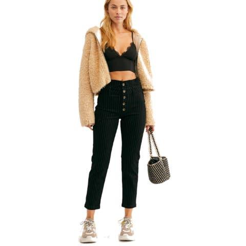 Free People Women's Montella Pinstripe Crop Skinny Pants,,12, Black