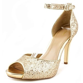 Style & Co Swifty Women Peep-Toe Canvas Gold Heels