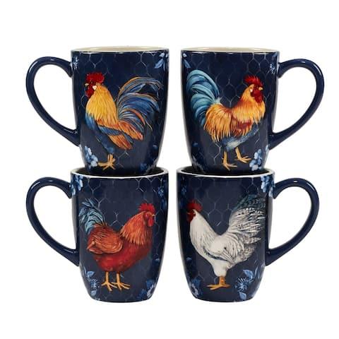 Certified International Indigo Rooster 22 oz. Mugs, Set of 4