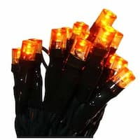 Set of 20 Battery Operated Gold LED Wide Angle Christmas Lights - Green Wire - ORANGE